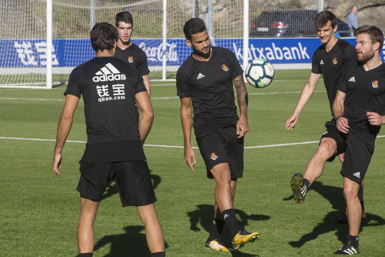 Entrenamiento de la Real Sociedad tras la victoria ante el Vardar