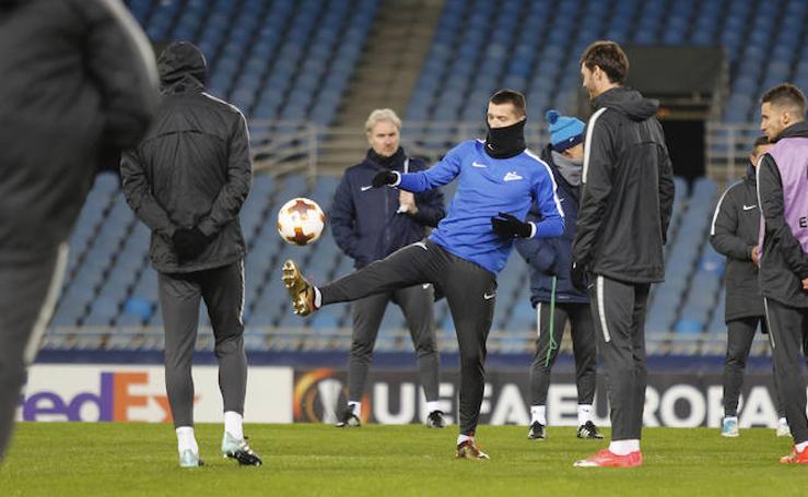 El Zenit entrena en Anoeta