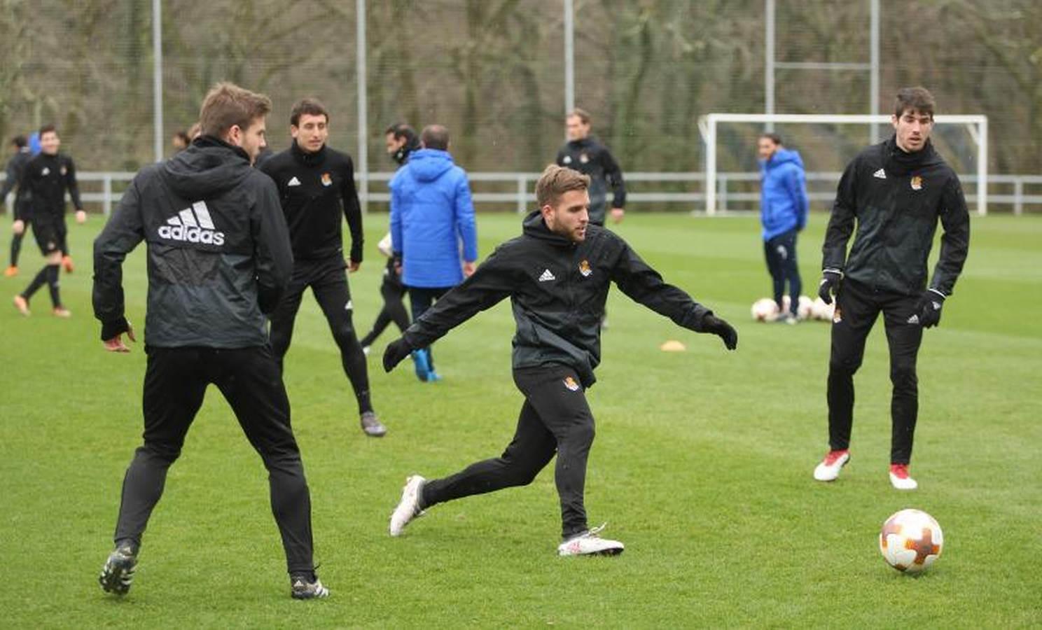 Entrenamiento de la Real Sociedad antes de enfrentarse al Salzburgo