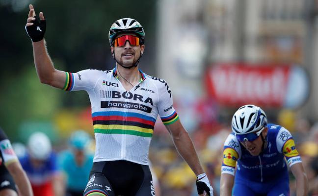 Sagan gana con un pedal menos