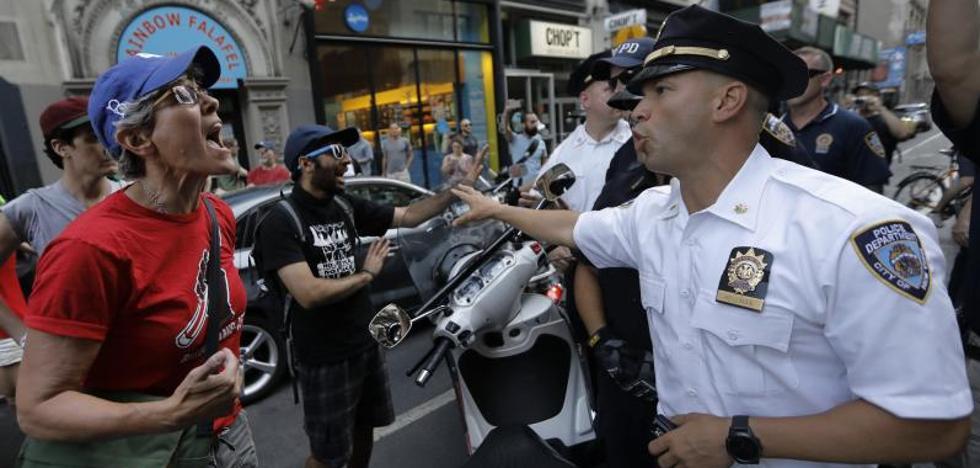 Nueva York recibe a Trump con protestas y entre grandes medidas de seguridad