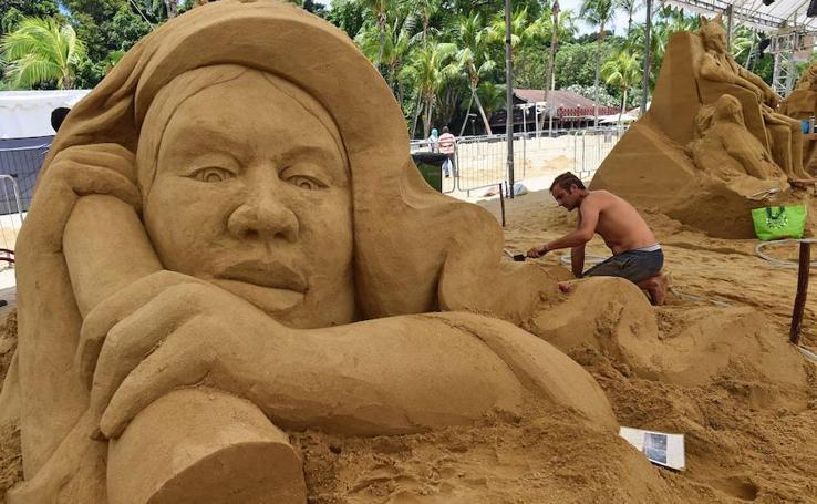 Arte sobre la arena en Singapur