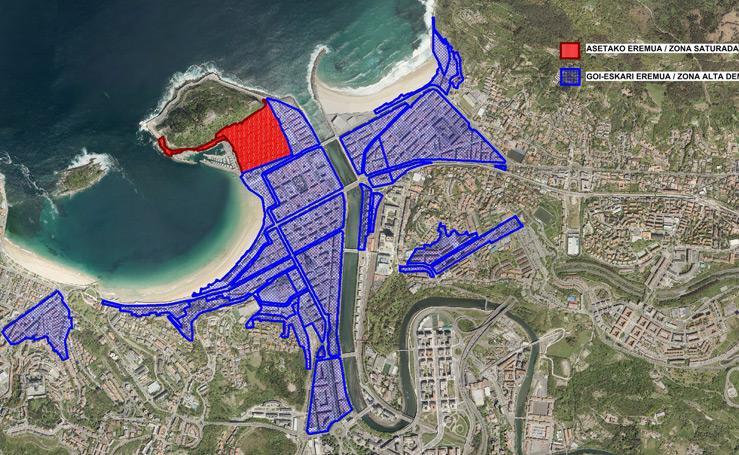 Zonas saturadas y de alta densidad de pisos turísticos en Donostia