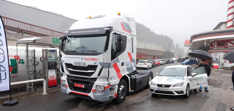 Rally de camiones impulsados por gas en Olaberria