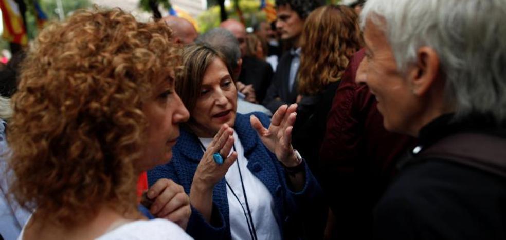 Forcadell, al frente de una manifiestación que pedía la libertad de los detenidos