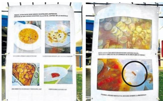 Padres de una ikastola vizcaína denuncian la mala calidad del menú tras hallar un gusano
