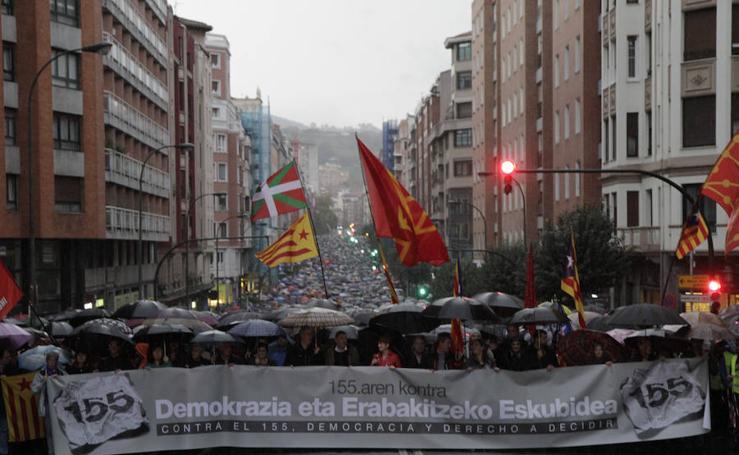 Manifestación en Bilbao a favor del proceso soberanista catalán