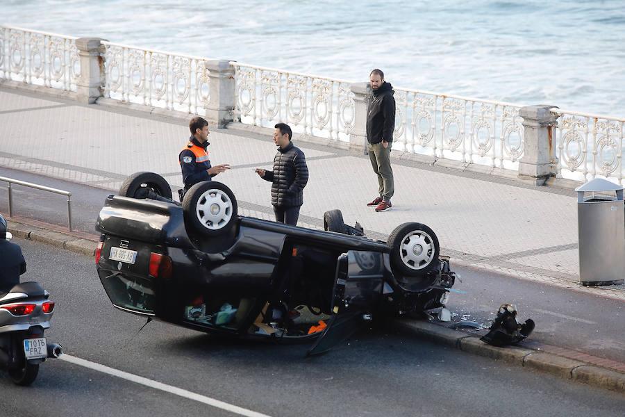 Espectacular accidente en La Concha