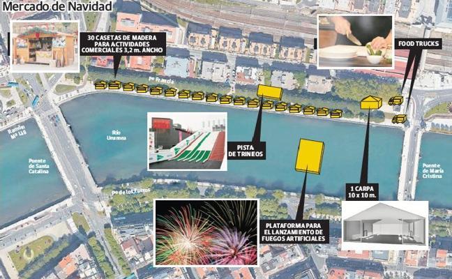 Una pista de trineo y fuegos artificiales para el mercado de Navidad de Donostia