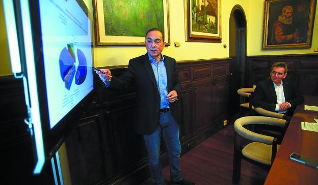 Miguel Ángel Páez explica los detalles del presupuesto, acompañado por Xabier Iridoy. /F. DE LA HERA