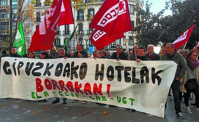 Concentración de trabajadores de hoteles