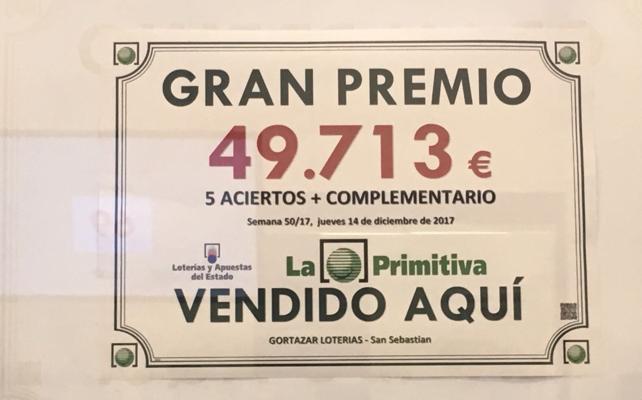 Un premio de La Primitiva cae en Donostia