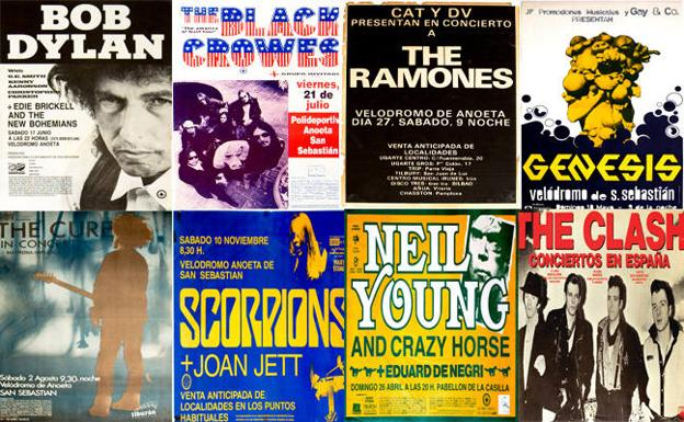 Cinco conciertos legendarios en San Sebastián, Bob Dylan (1989), The Black Crowes (1995), Ramones (1980), Genesis (1975) y The Cure (1986)./