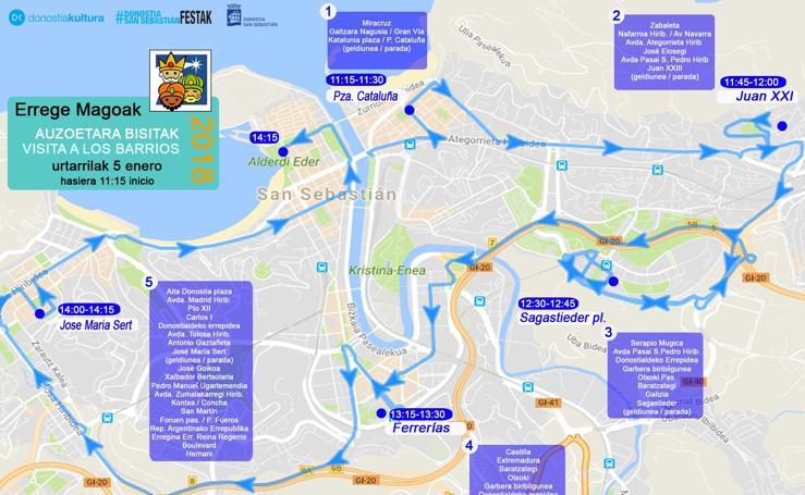 Recorrido y horarios: así será el itinerario de los Reyes Magos en Donostia
