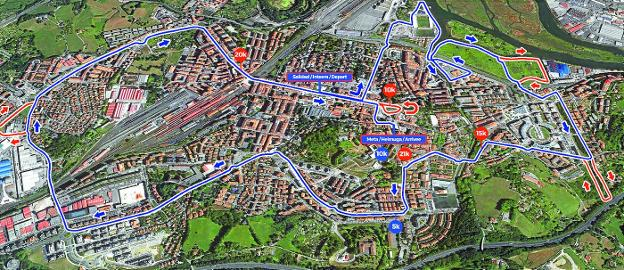 Recorrido de la media maratón y de la prueba de 10 kilómetros que se celebrarán el último domingo de febrero en Irun./