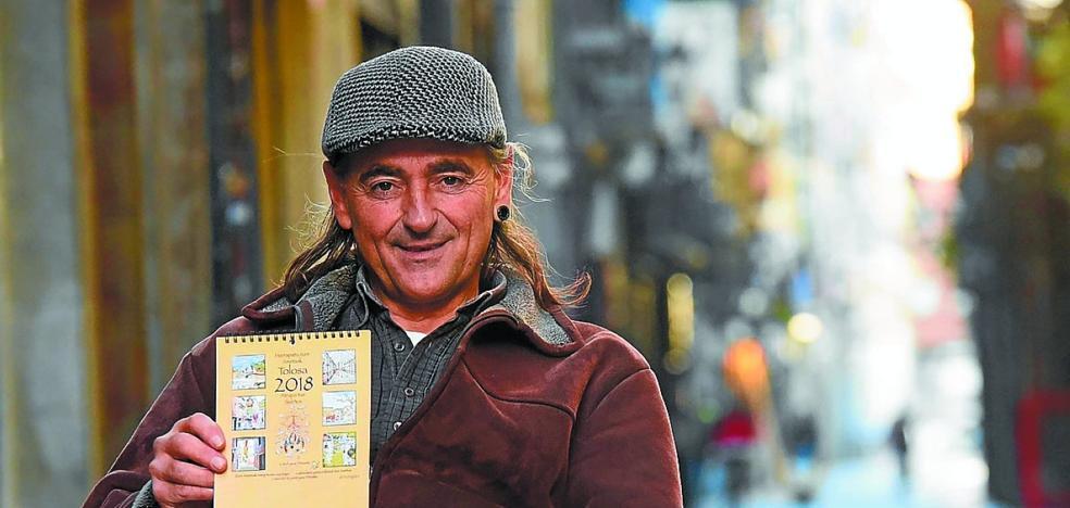 Peio Arruabarrena: «He hecho un calendario para colorear Tolosa pintando sueños»