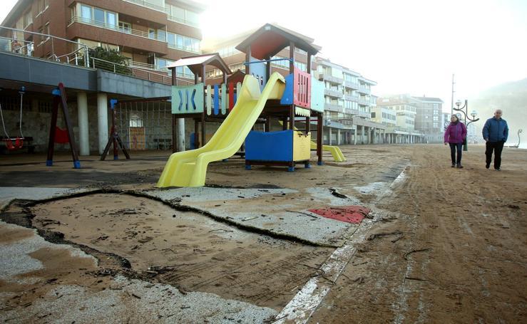 Los daños del temporal en la costa guipuzcoana