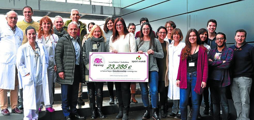Aspanogi dona 23.285 euros a Biodonostia