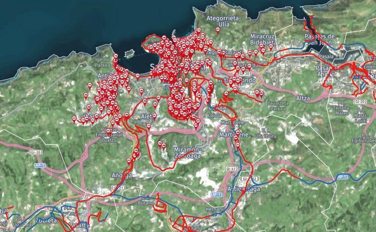 Red de bidegorris de Gipuzkoa y aparcabicis de San Sebastián