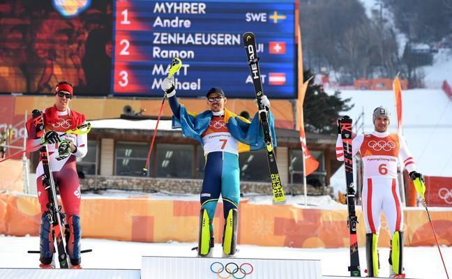 Andre Myhrer, de 35 años, nuevo campeón olímpico de eslalon