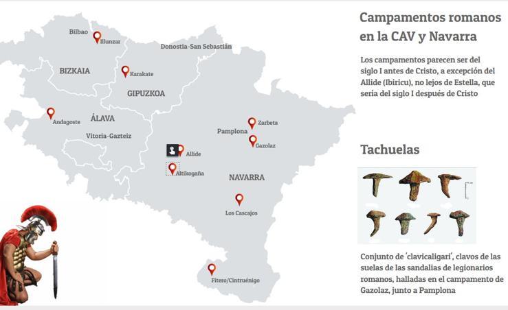 Campamentos romanos en la CAV y en Navarra