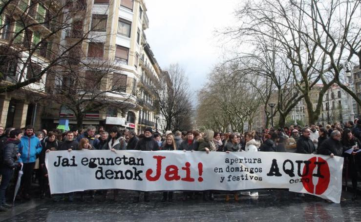 Manifestación contra la apertura de comercios en festivos