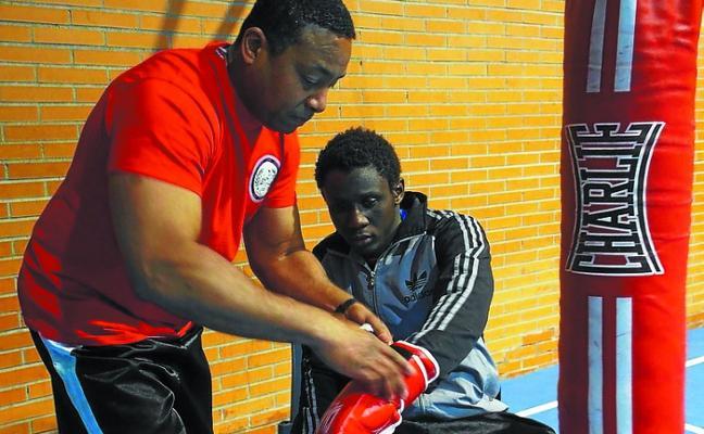 Mady Diame, en la velada de boxeo olímpico de Donostia