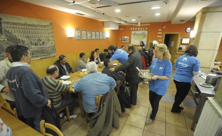 Menú con los voluntarios