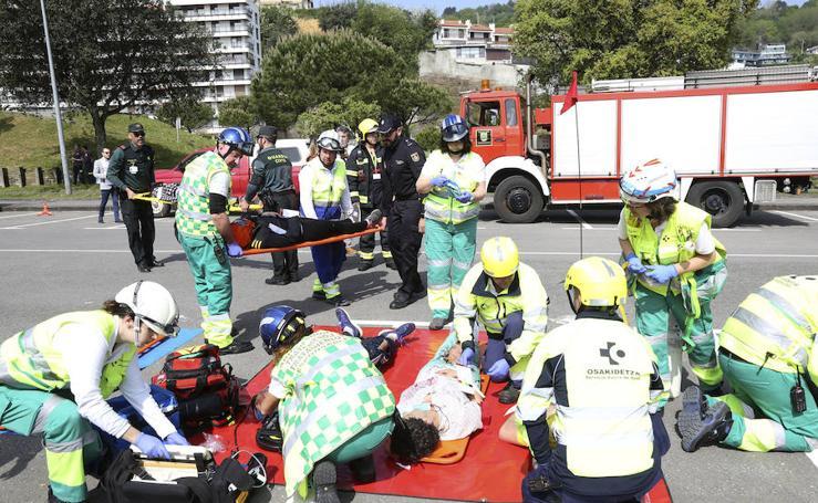 Simulacro de accidente en el aeropuerto de Hondarribia