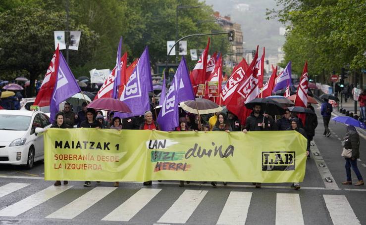 LAB, UGT y CC OO celebran el Primero de Mayo en San Sebastián