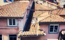Una vecina de Santander se juega la vida para tomar el sol