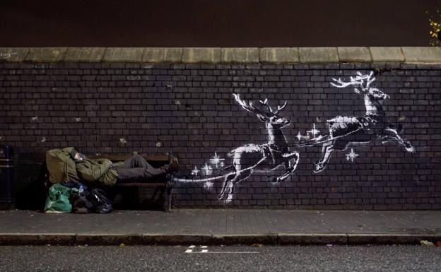 Aparece un nuevo mural navideño de Banksy en Inglaterra