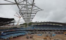 Reforma de Anoeta: La segunda cercha del estadio, en la tribuna sur, se izará mañana