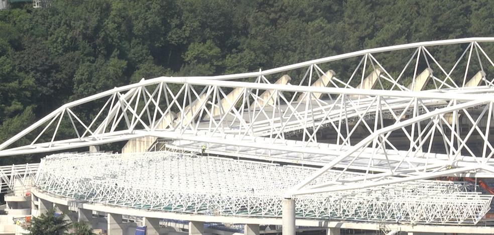 Montada la estructura de la cubierta del nuevo Anoeta