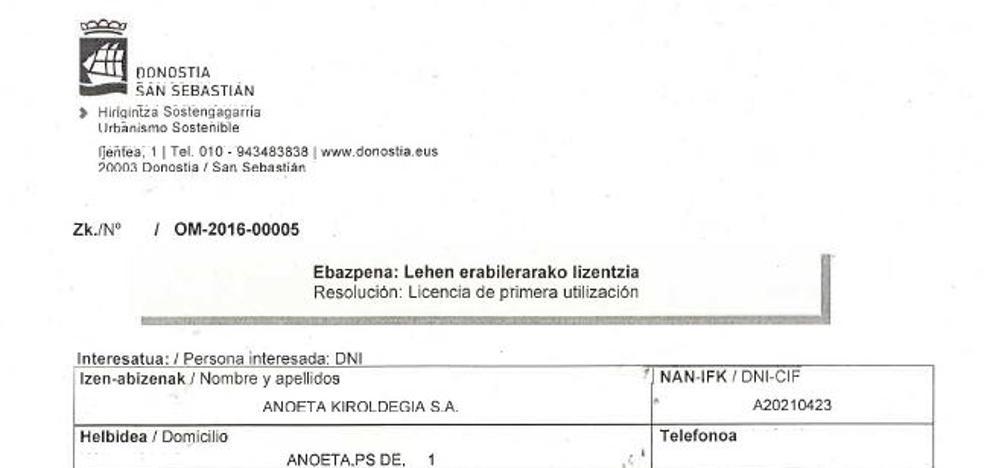 Anoeta recibe la licencia de primera utilización