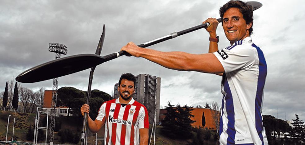 Derbi Real Sociedad - Athletic: Una piragua blanquiazul y rojiblanca