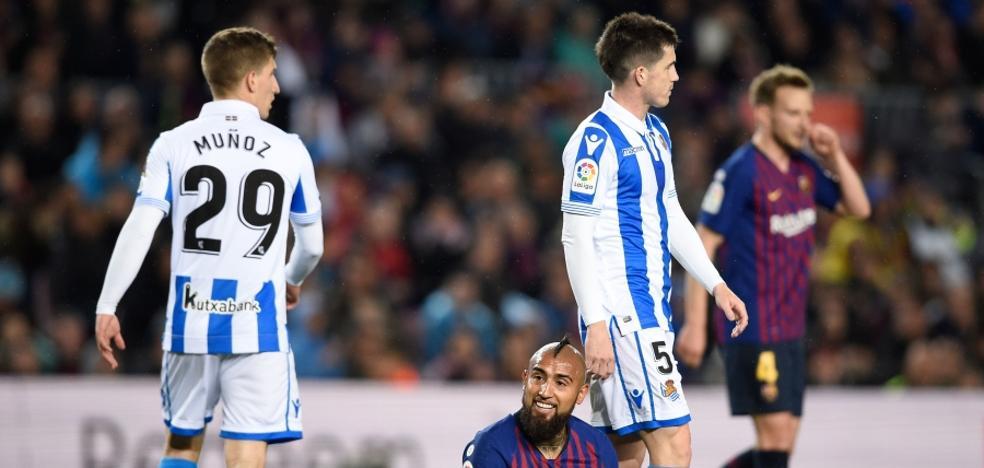 El uno a uno de los jugadores de la Real frente al Barcelona
