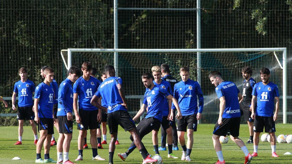 Último entrenamiento antes del partido en Anoeta ante el Mallorca