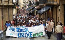 Protesta de padres y madres de la ikastola donostiarra Orixe