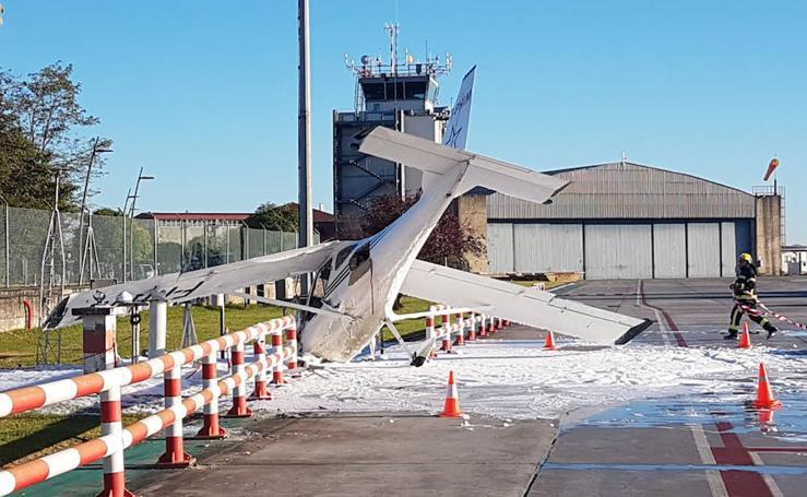 Una avioneta choca contra la estación meteorológica del aeropuerto de Hondarribia