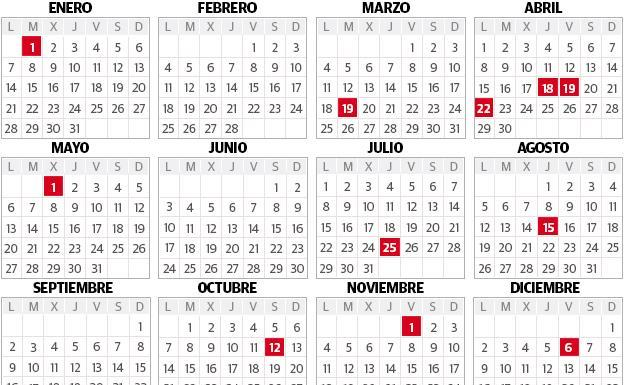 Calendario Laboral Pais Vasco 2019.Calendario Laboral 2019 Pais Vasco Cinco Puentes Doce Festivos