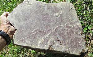 Una piedra con incisiones que podría ser el primer plano urbano vasco