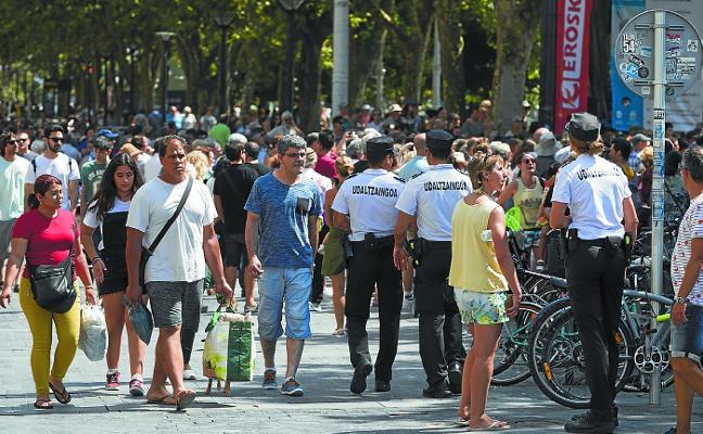 Donostia refuerza el nivel 4 de alerta con mayor presencia policial en fiestas