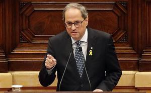 Torra oficializa en el Parlamento catalán su ruptura con el Gobierno