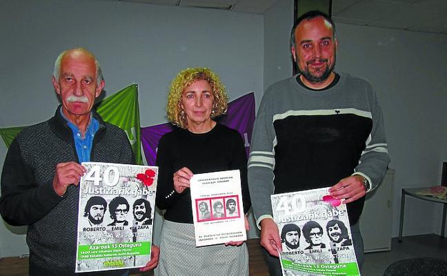 EH Bildu homenajeará a Roberto, Emili y Zapa, muertos a tiros en Munar en 1978