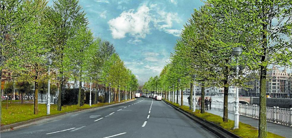 El Ayuntamiento de San Sebastián renovará todo el arbolado y la iluminación del paseo de los Fueros