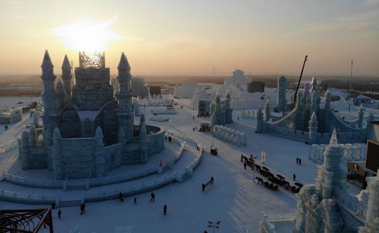 Una ciudad de hielo a vista de pájaro