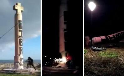 Desconocidos derriban por la fuerza en Ondarroa un monumento franquista