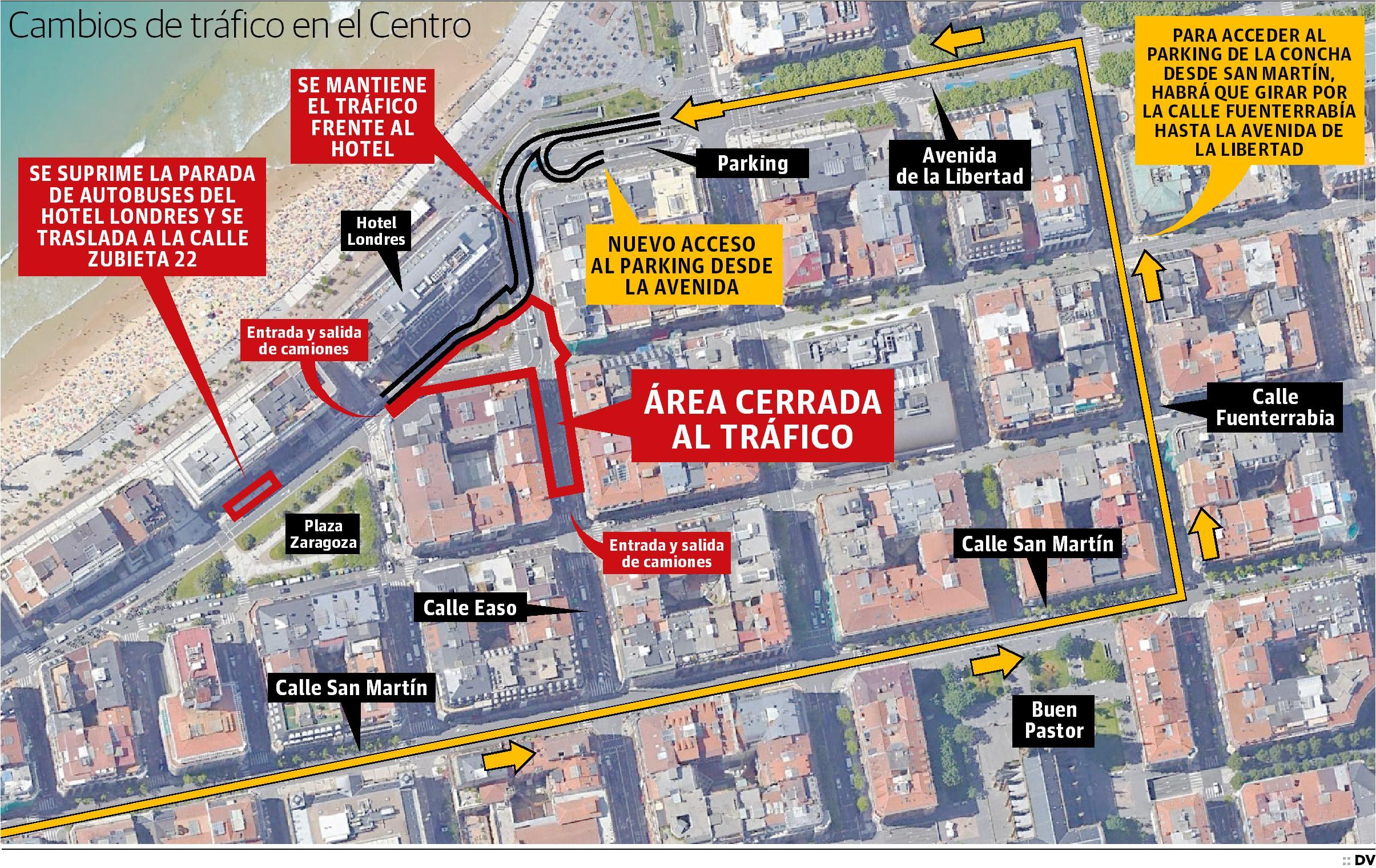 Consulta las modificaciones de tráfico por la obra de la boca de acceso al Topo junto al hotel Londres