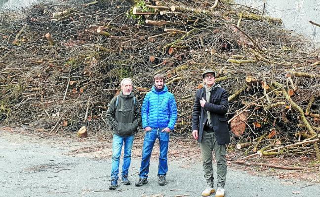 'Zuhaitzak bizirik' denuncia la tala de árboles en la carretera de Errezil